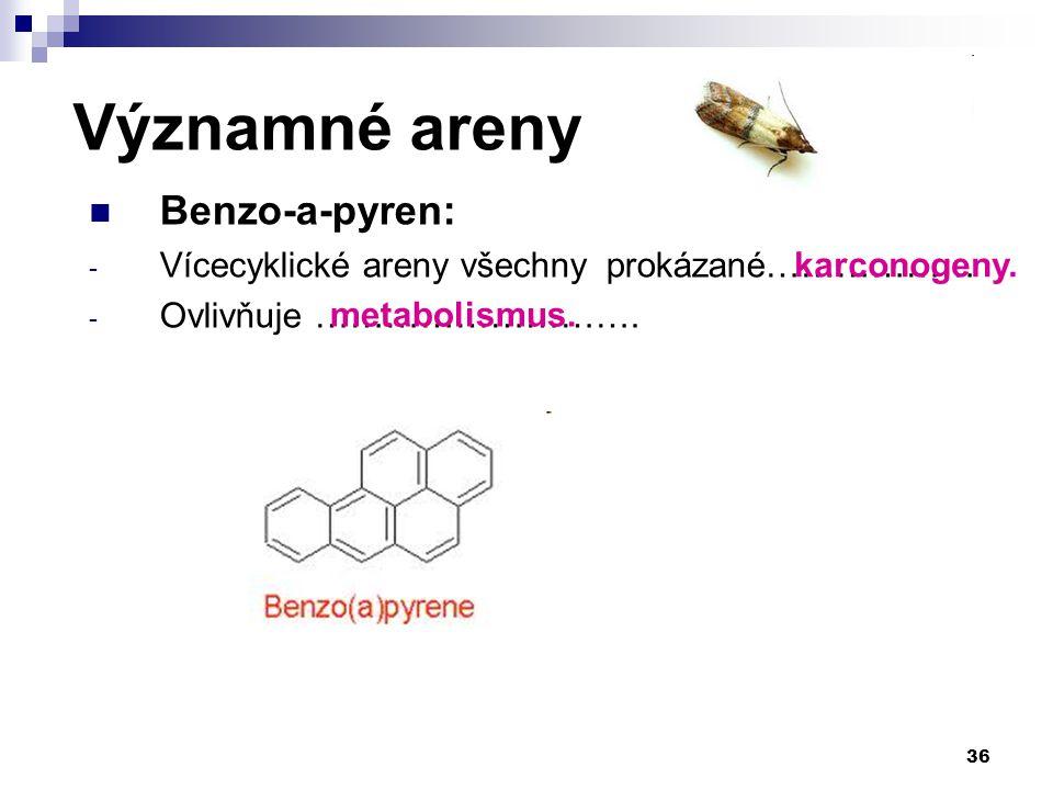 Benzo-a-pyren: - Vícecyklické areny všechny prokázané……………… - Ovlivňuje ………………………. 36 Významné areny karconogeny. metabolismus.