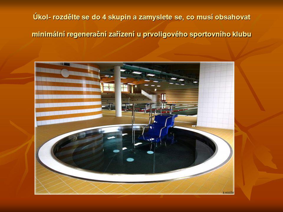 Úkol- rozdělte se do 4 skupin a zamyslete se, co musí obsahovat minimální regenerační zařízení u prvoligového sportovního klubu