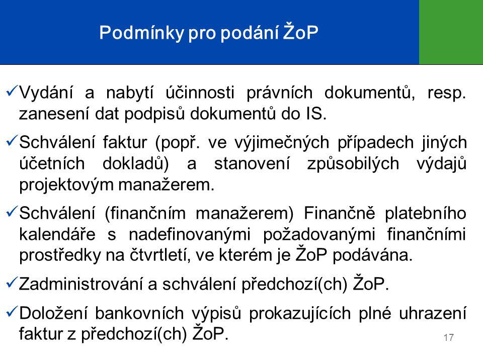 Podmínky pro podání ŽoP Vydání a nabytí účinnosti právních dokumentů, resp.