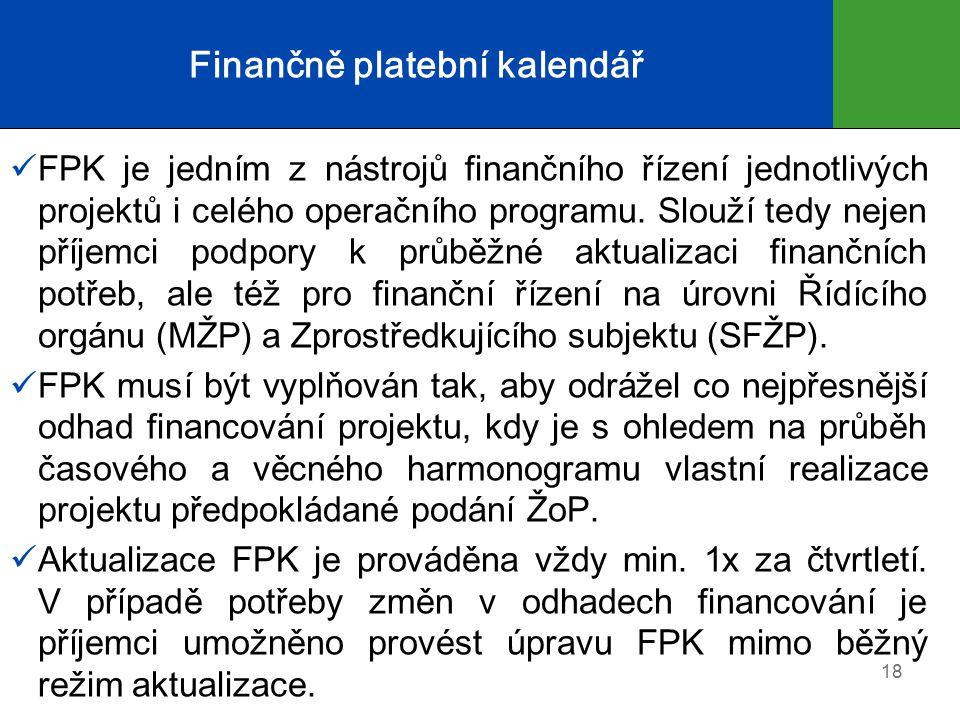 Finančně platební kalendář FPK je jedním z nástrojů finančního řízení jednotlivých projektů i celého operačního programu.