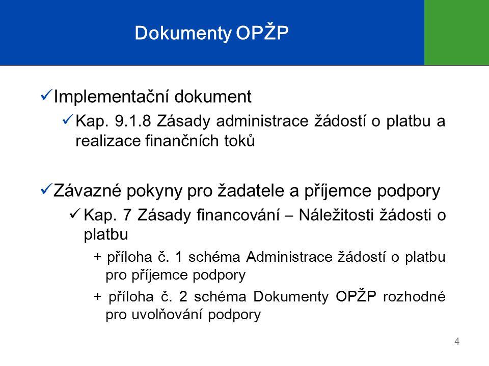 Právní dokumenty rozhodné pro uvolňování podpory Rozhodnutí o poskytnutí dotace (RoPD) v případě dotace FS / ERDF nebo ze SR-kap.315 MŽP Stanovení výdajů (StV) je-li žadatelem organizační složka státu (OSS) Smlouva o poskytnutí podpory ze SFŽP ČR v rámci OPŽP v případě spolufinancování ze SFŽP Zástavní smlouva (popř.