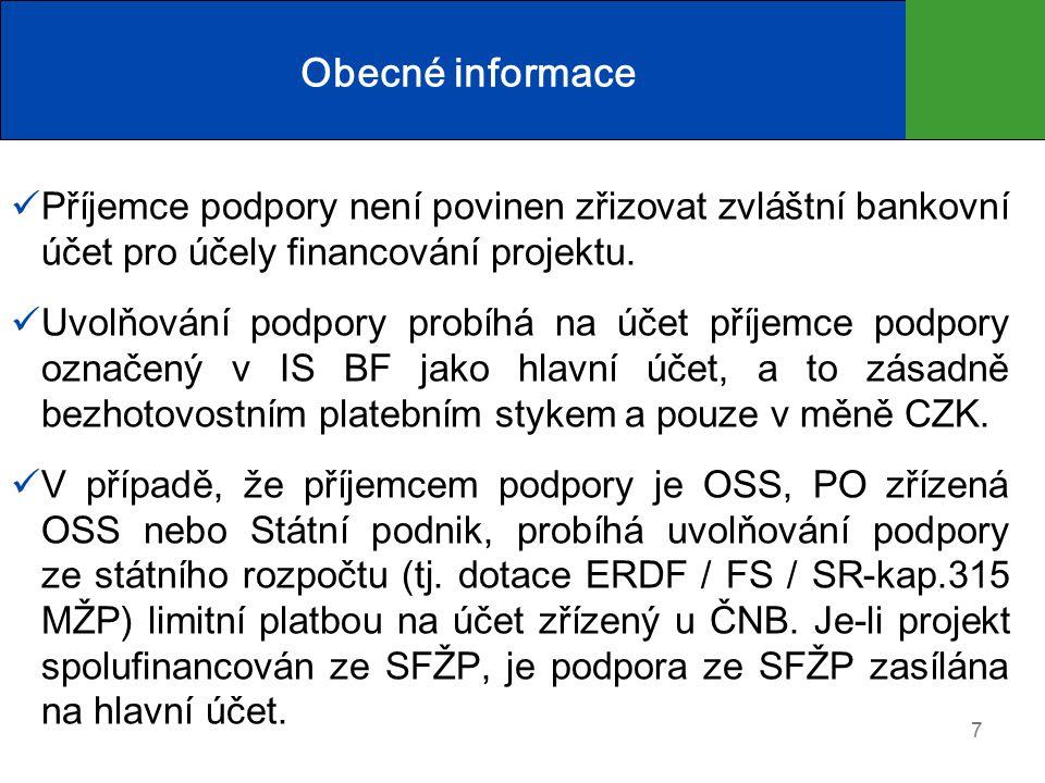 Obecné informace Příjemce podpory není povinen zřizovat zvláštní bankovní účet pro účely financování projektu.