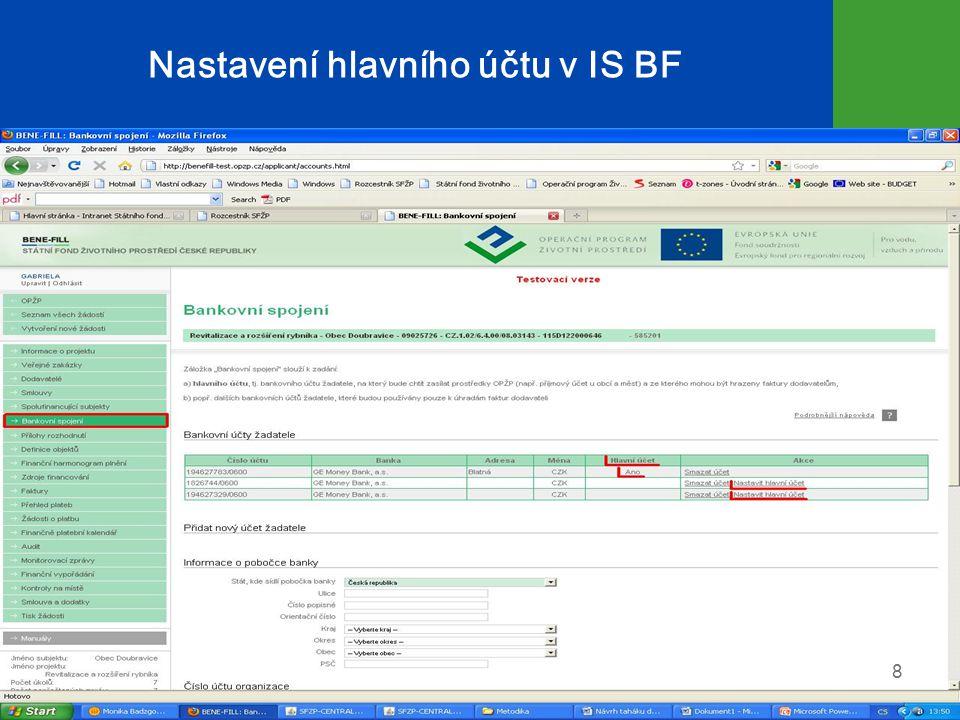 Nastavení hlavního účtu v IS BF 8