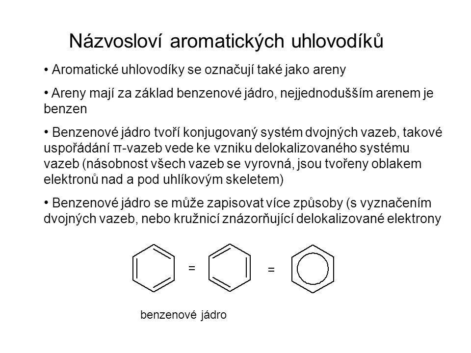 Názvosloví aromatických uhlovodíků Aromatické uhlovodíky se označují také jako areny Areny mají za základ benzenové jádro, nejjednodušším arenem je be