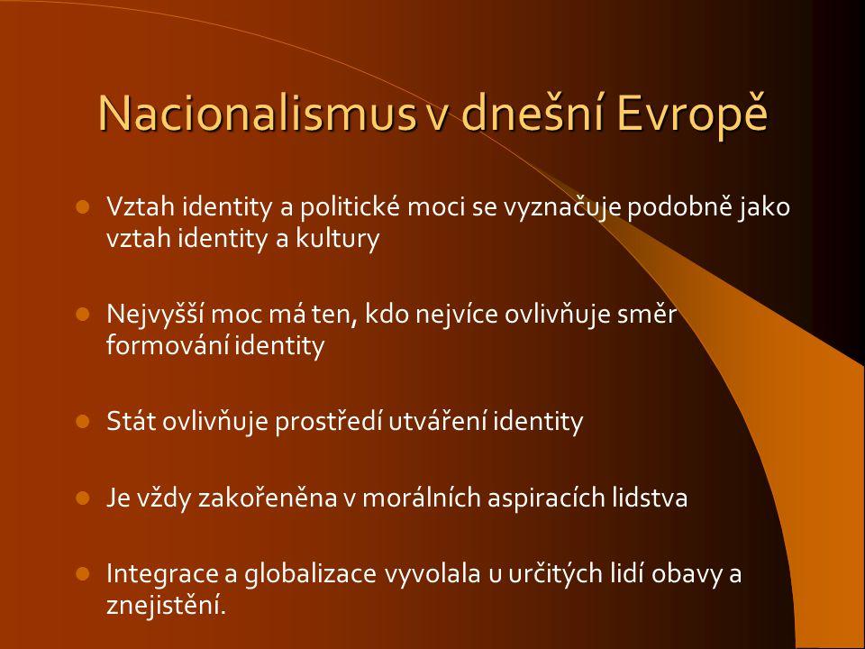 Nacionalismus v dnešní Evropě Vztah identity a politické moci se vyznačuje podobně jako vztah identity a kultury Nejvyšší moc má ten, kdo nejvíce ovli