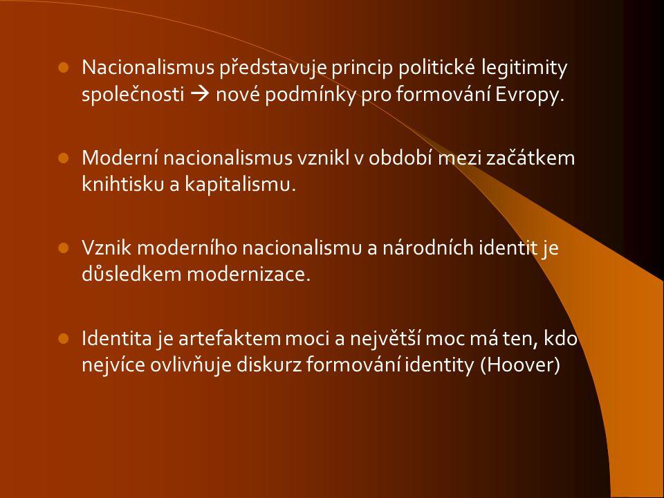 Nacionalismus představuje princip politické legitimity společnosti  nové podmínky pro formování Evropy. Moderní nacionalismus vznikl v období mezi za