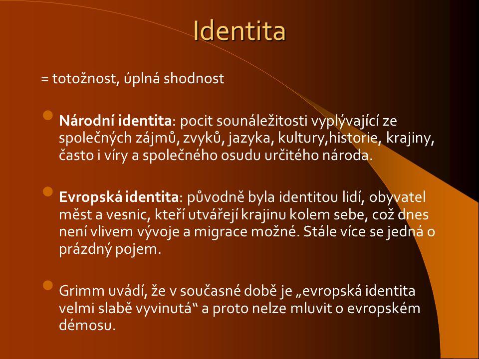 Identita = totožnost, úplná shodnost Národní identita: pocit sounáležitosti vyplývající ze společných zájmů, zvyků, jazyka, kultury,historie, krajiny,