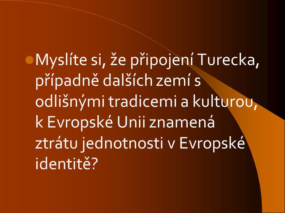 Myslíte si, že připojení Turecka, případně dalších zemí s odlišnými tradicemi a kulturou, k Evropské Unii znamená ztrátu jednotnosti v Evropské identi