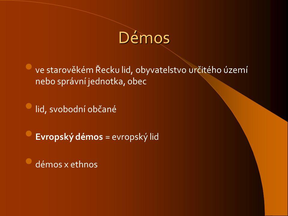 Démos ve starověkém Řecku lid, obyvatelstvo určitého území nebo správní jednotka, obec lid, svobodní občané Evropský démos = evropský lid démos x ethn