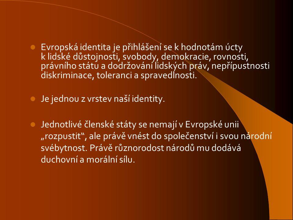 Evropská identita je přihlášení se k hodnotám úcty k lidské důstojnosti, svobody, demokracie, rovnosti, právního státu a dodržování lidských práv, nep