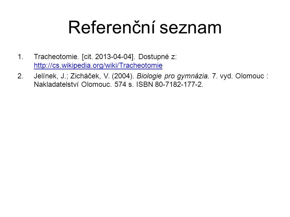 Referenční seznam 1.Tracheotomie. [cit. 2013-04-04]. Dostupné z: http://cs.wikipedia.org/wiki/Tracheotomie http://cs.wikipedia.org/wiki/Tracheotomie 2