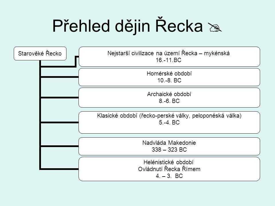 Přehled dějin Řecka  Starověké Řecko Nejstarší civilizace na území Řecka – mykénská 16.-11.BC Homérské období 10.-8. BC Archaické období 8.-6. BC Kla