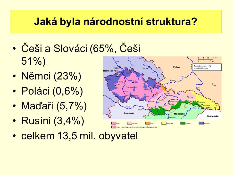 Češi a Slováci (65%, Češi 51%) Němci (23%) Poláci (0,6%) Maďaři (5,7%) Rusíni (3,4%) celkem 13,5 mil. obyvatel Jaká byla národnostní struktura?