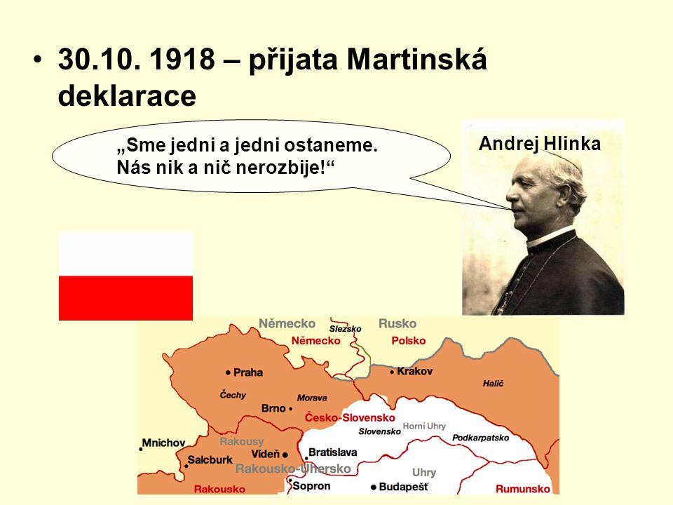 """30.10. 1918 – přijata Martinská deklarace Andrej Hlinka """"Sme jedni a jedni ostaneme. Nás nik a nič nerozbije!"""""""