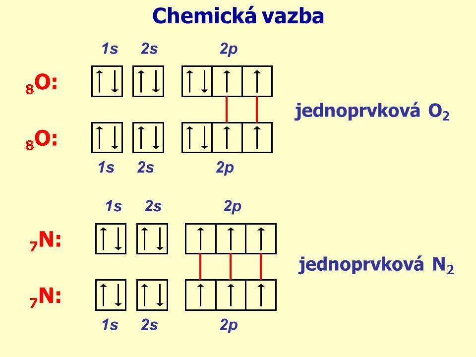 1s 2s 2p 8 O: Chemická vazba 1s 2s 2p 8 O: jednoprvková O 2 1s 2s 2p 7 N: 1s 2s 2p 7 N: jednoprvková N 2