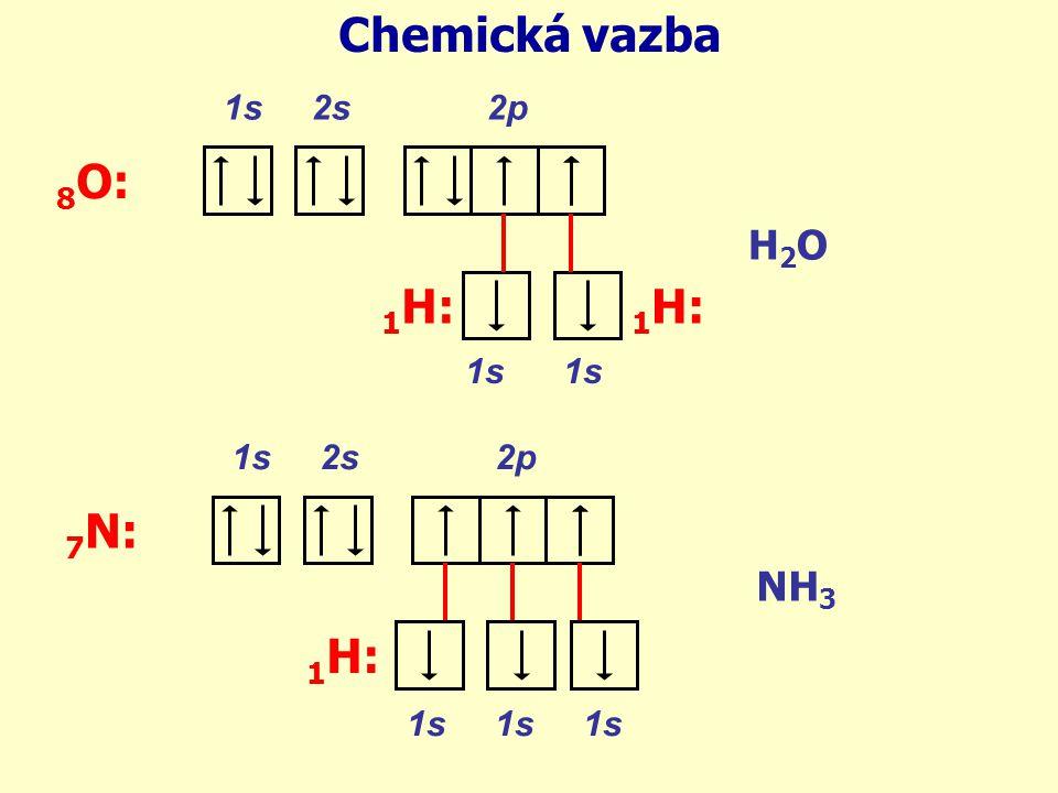 1s 2s 2p 8 O: Chemická vazba 1s 1 H: H2OH2O 1s 2s 2p 7 N: 1s 1s 1s NH 3 1 H:
