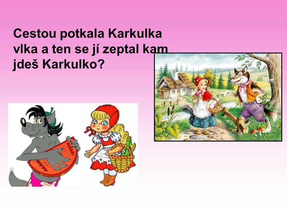 Cestou potkala Karkulka vlka a ten se jí zeptal kam jdeš Karkulko?