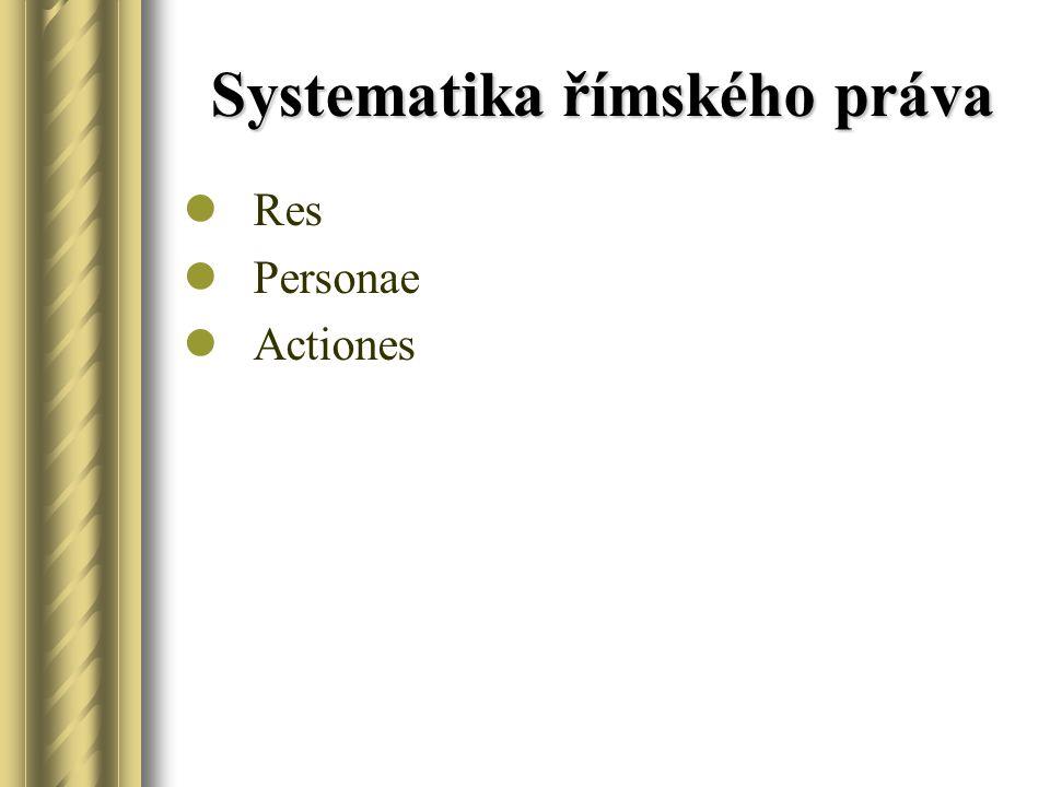 Systematika římského práva Res Personae Actiones