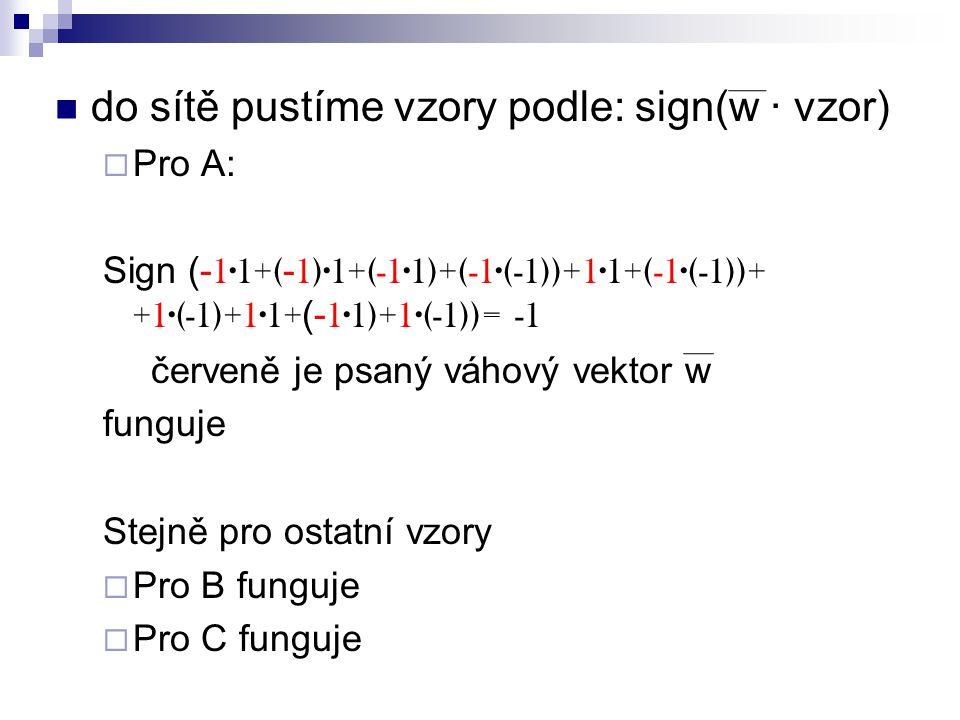 do sítě pustíme vzory podle: sign(w ∙ vzor)  Pro A: Sign (- 1∙1+( - 1)∙1+(-1∙1)+(-1∙(-1))+1∙1+(-1∙(-1))+ +1∙(-1)+1∙1+ (- 1∙1)+1∙(-1))= -1 červeně je psaný váhový vektor w funguje Stejně pro ostatní vzory  Pro B funguje  Pro C funguje