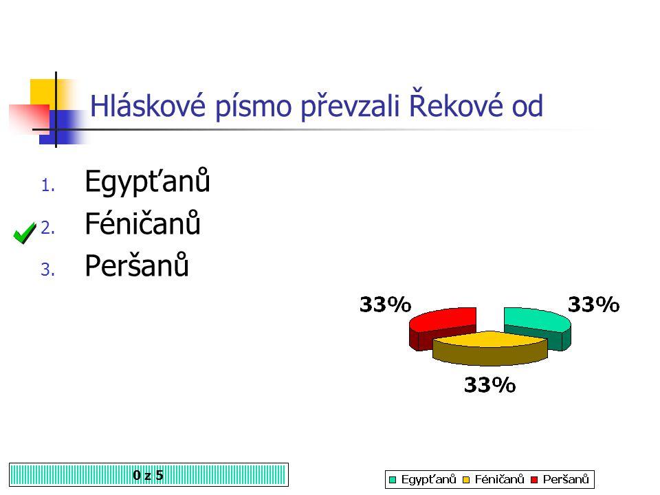 Hláskové písmo převzali Řekové od 0 z 5 1. Egypťanů 2. Féničanů 3. Peršanů