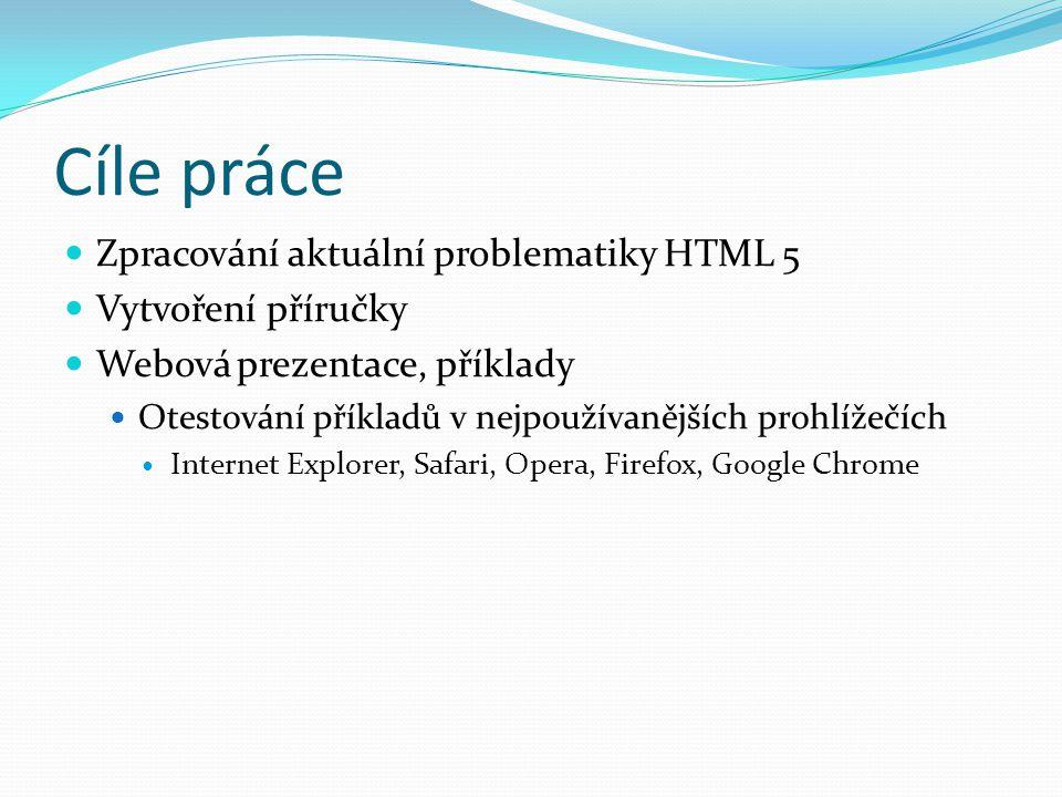 Cíle práce Zpracování aktuální problematiky HTML 5 Vytvoření příručky Webová prezentace, příklady Otestování příkladů v nejpoužívanějších prohlížečích Internet Explorer, Safari, Opera, Firefox, Google Chrome