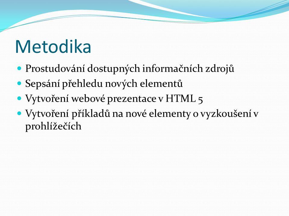 Metodika Prostudování dostupných informačních zdrojů Sepsání přehledu nových elementů Vytvoření webové prezentace v HTML 5 Vytvoření příkladů na nové elementy o vyzkoušení v prohlížečích