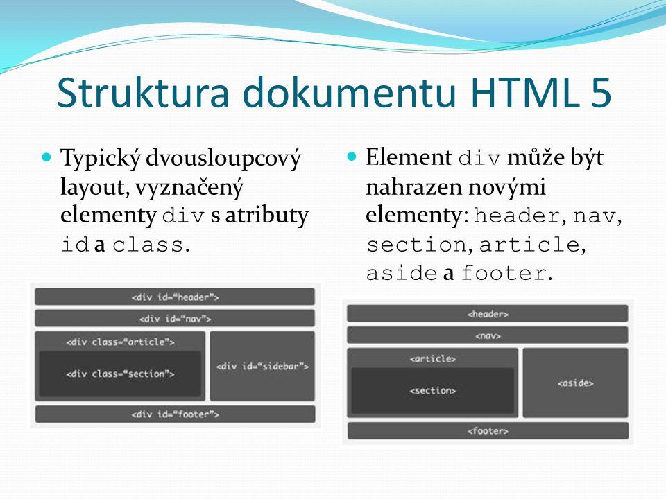Struktura dokumentu HTML 5 Typický dvousloupcový layout, vyznačený elementy div s atributy id a class.