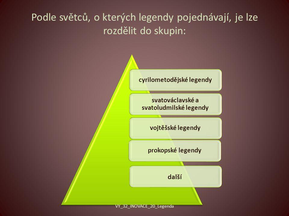 Podle světců, o kterých legendy pojednávají, je lze rozdělit do skupin: cyrilometodějské legendy svatováclavské a svatoludmilské legendy vojtěšské legendyprokopské legendy další VY_32_INOVACE_20_Legenda