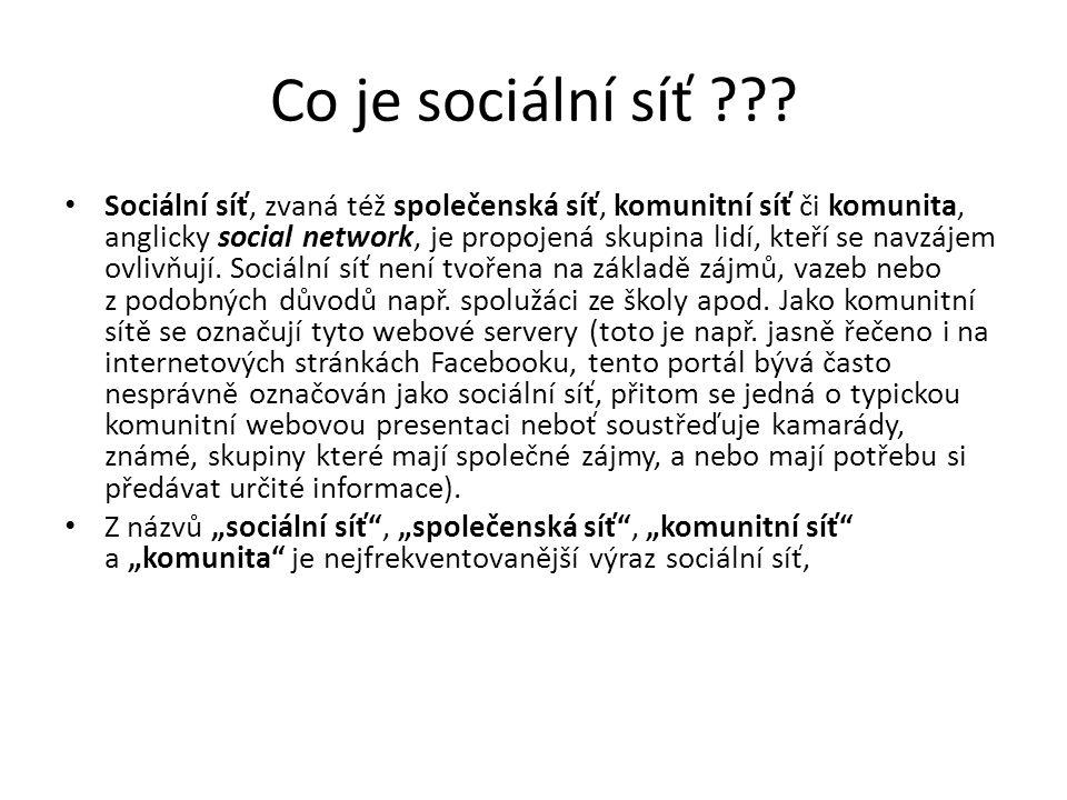 Co je sociální síť ??? Sociální síť, zvaná též společenská síť, komunitní síť či komunita, anglicky social network, je propojená skupina lidí, kteří s