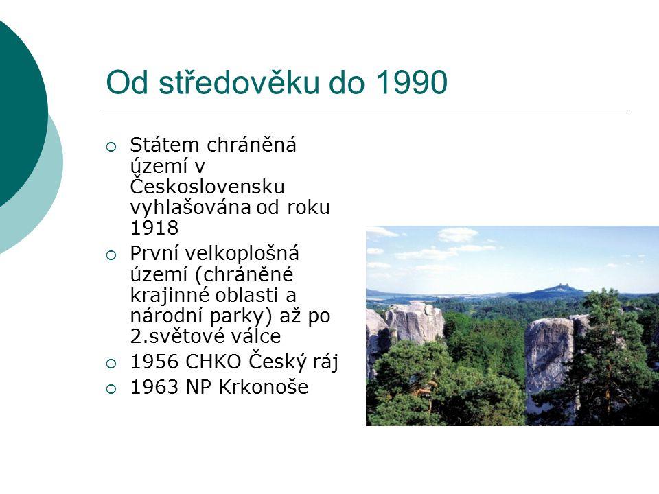 Od středověku do 1990  Státem chráněná území v Československu vyhlašována od roku 1918  První velkoplošná území (chráněné krajinné oblasti a národní parky) až po 2.světové válce  1956 CHKO Český ráj  1963 NP Krkonoše