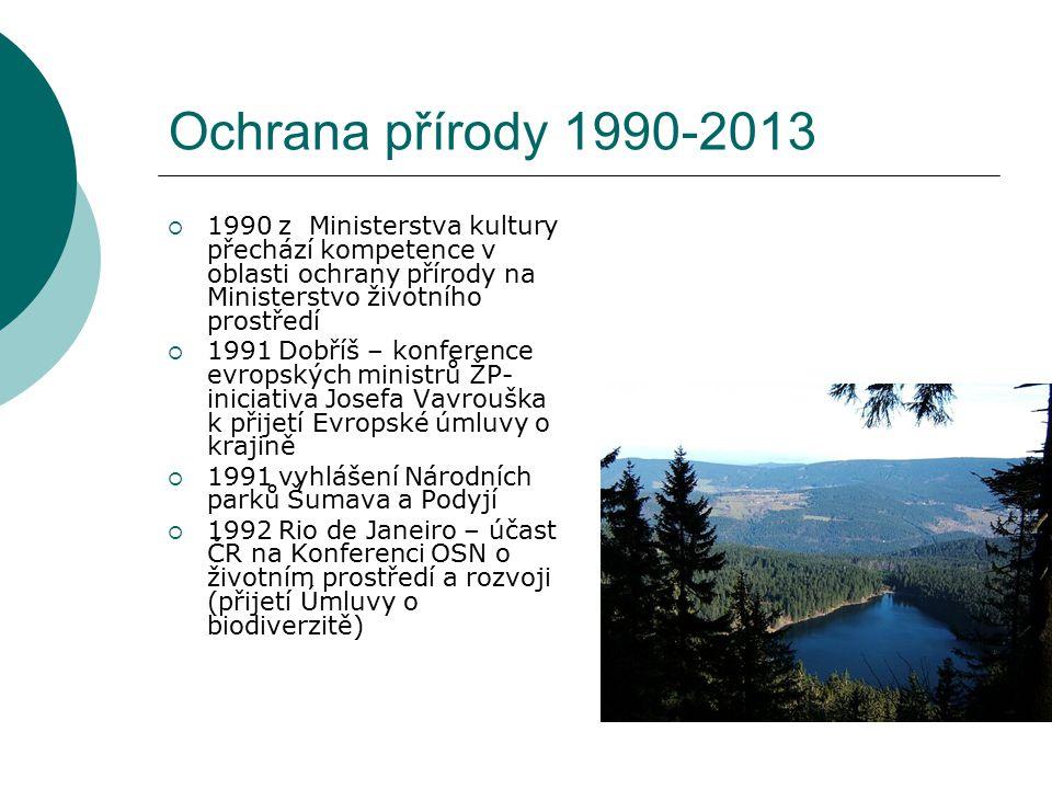 Ochrana přírody 1990-2013  1990 z Ministerstva kultury přechází kompetence v oblasti ochrany přírody na Ministerstvo životního prostředí  1991 Dobří