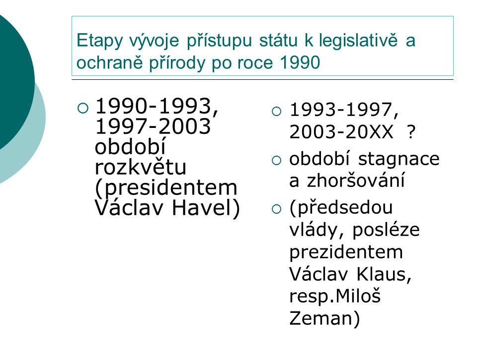 Etapy vývoje přístupu státu k legislativě a ochraně přírody po roce 1990  1990-1993, 1997-2003 období rozkvětu (presidentem Václav Havel)  1993-1997, 2003-20XX .