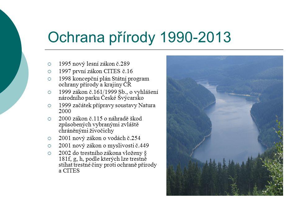 Ochrana přírody 1990-2013  1995 nový lesní zákon č.289  1997 první zákon CITES č.16  1998 koncepční plán Státní program ochrany přírody a krajiny Č