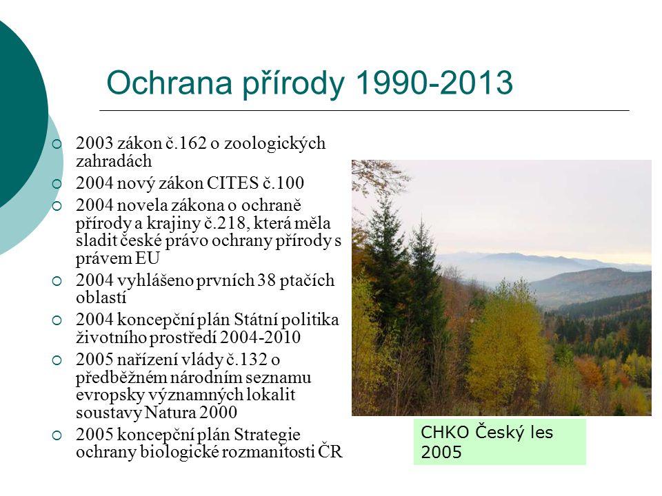 Ochrana přírody 1990-2013  2003 zákon č.162 o zoologických zahradách  2004 nový zákon CITES č.100  2004 novela zákona o ochraně přírody a krajiny č.218, která měla sladit české právo ochrany přírody s právem EU  2004 vyhlášeno prvních 38 ptačích oblastí  2004 koncepční plán Státní politika životního prostředí 2004-2010  2005 nařízení vlády č.132 o předběžném národním seznamu evropsky významných lokalit soustavy Natura 2000  2005 koncepční plán Strategie ochrany biologické rozmanitosti ČR CHKO Český les 2005