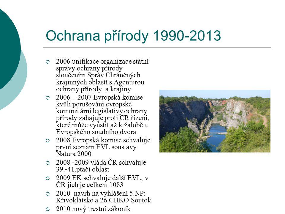 Ochrana přírody 1990-2013  2006 unifikace organizace státní správy ochrany přírody sloučením Správ Chráněných krajinných oblastí s Agenturou ochrany