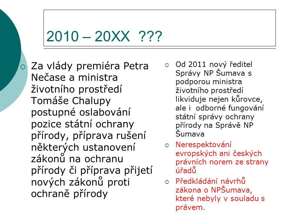 2010 – 20XX ???  Za vlády premiéra Petra Nečase a ministra životního prostředí Tomáše Chalupy postupné oslabování pozice státní ochrany přírody, příp