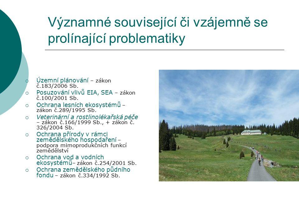 Významné související či vzájemně se prolínající problematiky  Územní plánování – zákon č.183/2006 Sb.