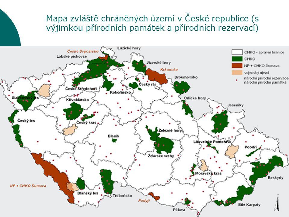 Mapa zvláště chráněných území v České republice (s výjimkou přírodních památek a přírodních rezervací) Český les