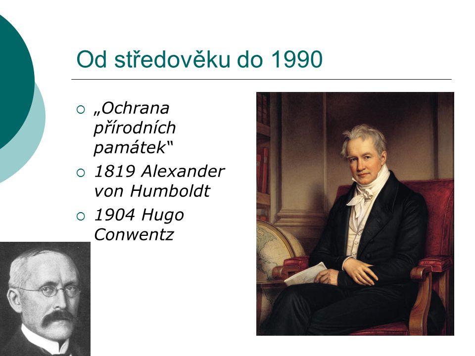 """Od středověku do 1990  """"Ochrana přírodních památek""""  1819 Alexander von Humboldt  1904 Hugo Conwentz"""