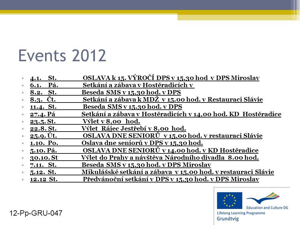 Events 2012 4.1. St. OSLAVA k 15. VÝROČÍ DPS v 15,30 hod v DPS Miroslav 6.1.Pá. Setkání a zábava v Hostěradicích v 8.2.St. Beseda SMS v 15,30 hod. v D