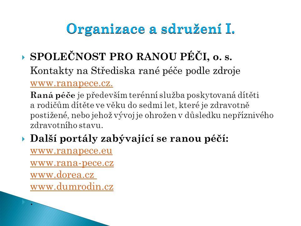  SPOLEČNOST PRO RANOU PÉČI, o. s. Kontakty na Střediska rané péče podle zdroje www.ranapece.cz. www.ranapece.cz. Raná péče je především terénní služb