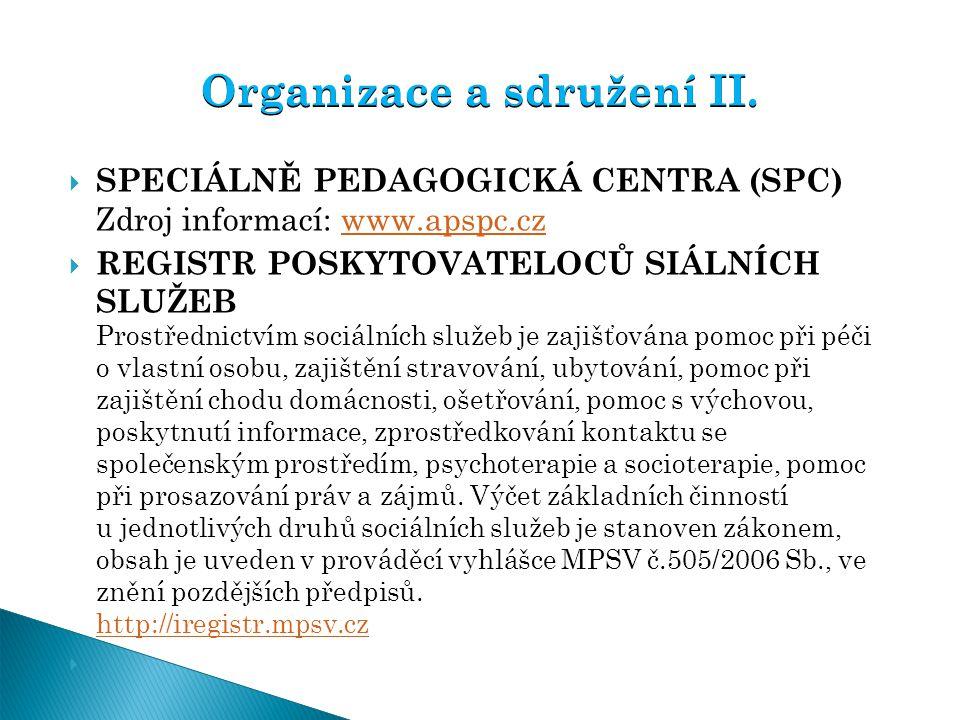  SPECIÁLNĚ PEDAGOGICKÁ CENTRA (SPC) Zdroj informací: www.apspc.cz www.apspc.cz  REGISTR POSKYTOVATELOCŮ SIÁLNÍCH SLUŽEB Prostřednictvím sociálních s