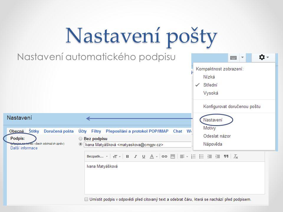 Nastavení pošty Nastavení automatického podpisu