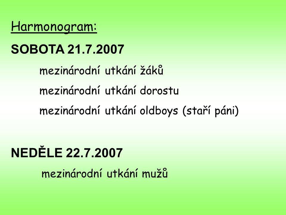 Harmonogram: SOBOTA 21.7.2007 mezinárodní utkání žáků mezinárodní utkání dorostu mezinárodní utkání oldboys (staří páni) NEDĚLE 22.7.2007 mezinárodní