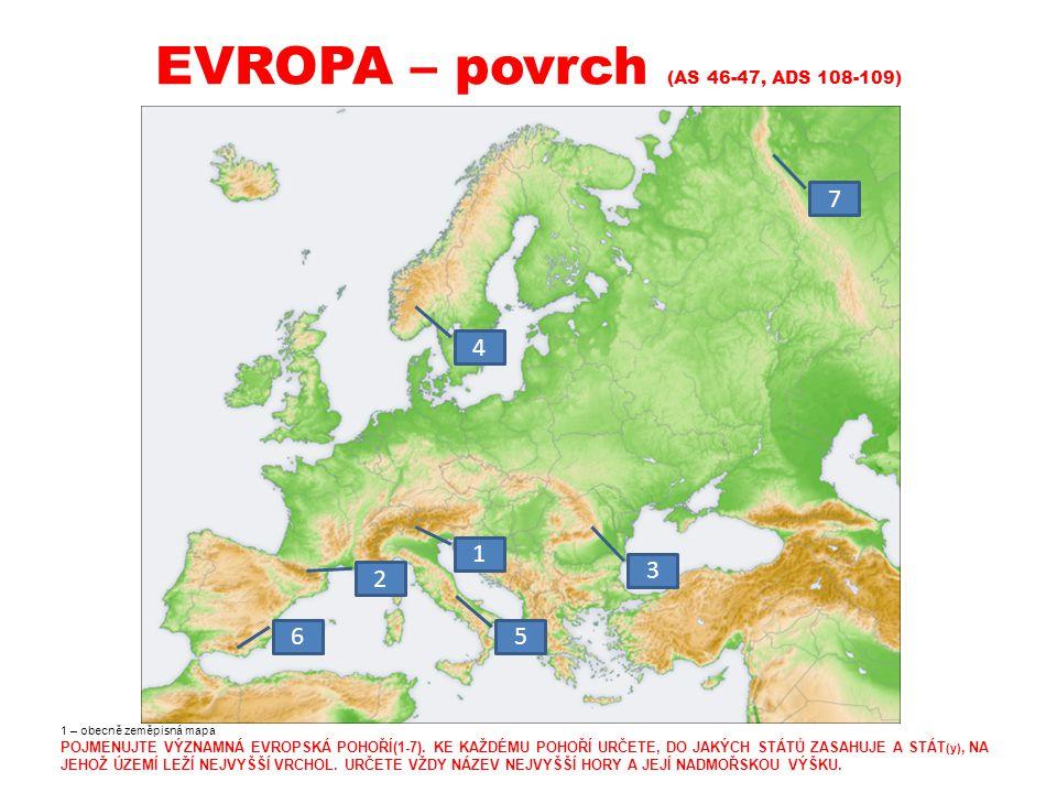 EVROPA – povrch (AS 46-47, ADS 108-109) 1 – obecně zeměpisná mapa POJMENUJTE VÝZNAMNÁ EVROPSKÁ POHOŘÍ(1-7).