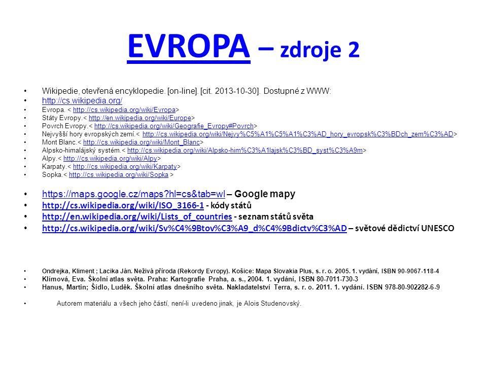 EVROPAEVROPA – zdroje 2 Wikipedie, otevřená encyklopedie.