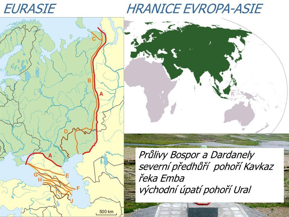 EURASIE HRANICE EVROPA-ASIE Průlivy Bospor a Dardanely severní předhůří pohoří Kavkaz řeka Emba východní úpatí pohoří Ural