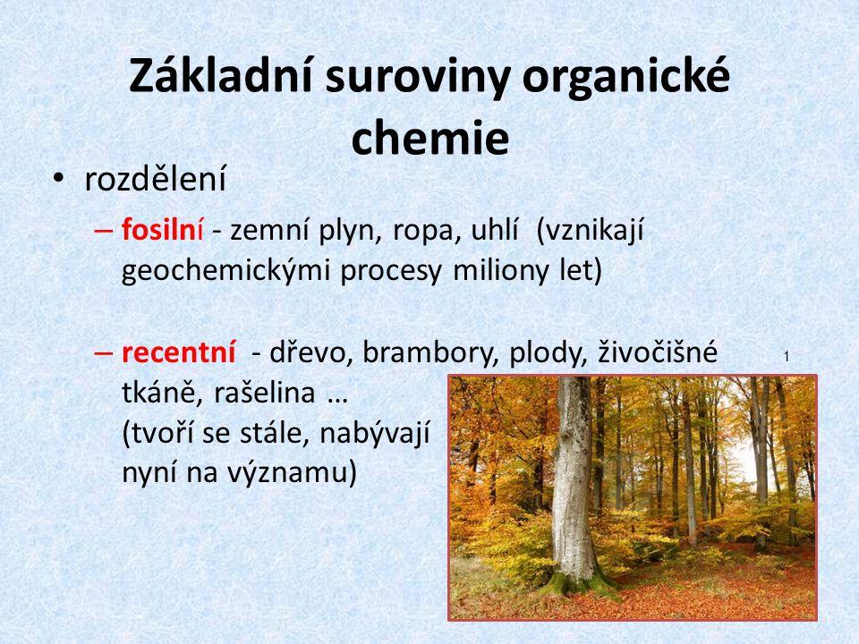Základní suroviny organické chemie rozdělení – fosilní - zemní plyn, ropa, uhlí (vznikají geochemickými procesy miliony let) – recentní - dřevo, bramb