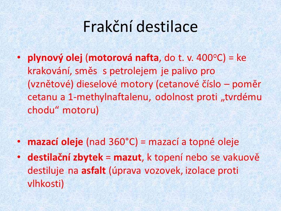 Frakční destilace plynový olej (motorová nafta, do t. v. 400 o C) = ke krakování, směs s petrolejem je palivo pro (vznětové) dieselové motory (cetanov