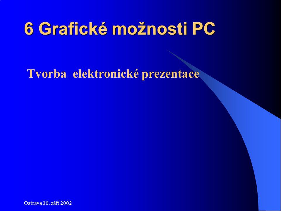 Ostrava 30. září 2002 6 Grafické možnosti PC Tvorba elektronické prezentace
